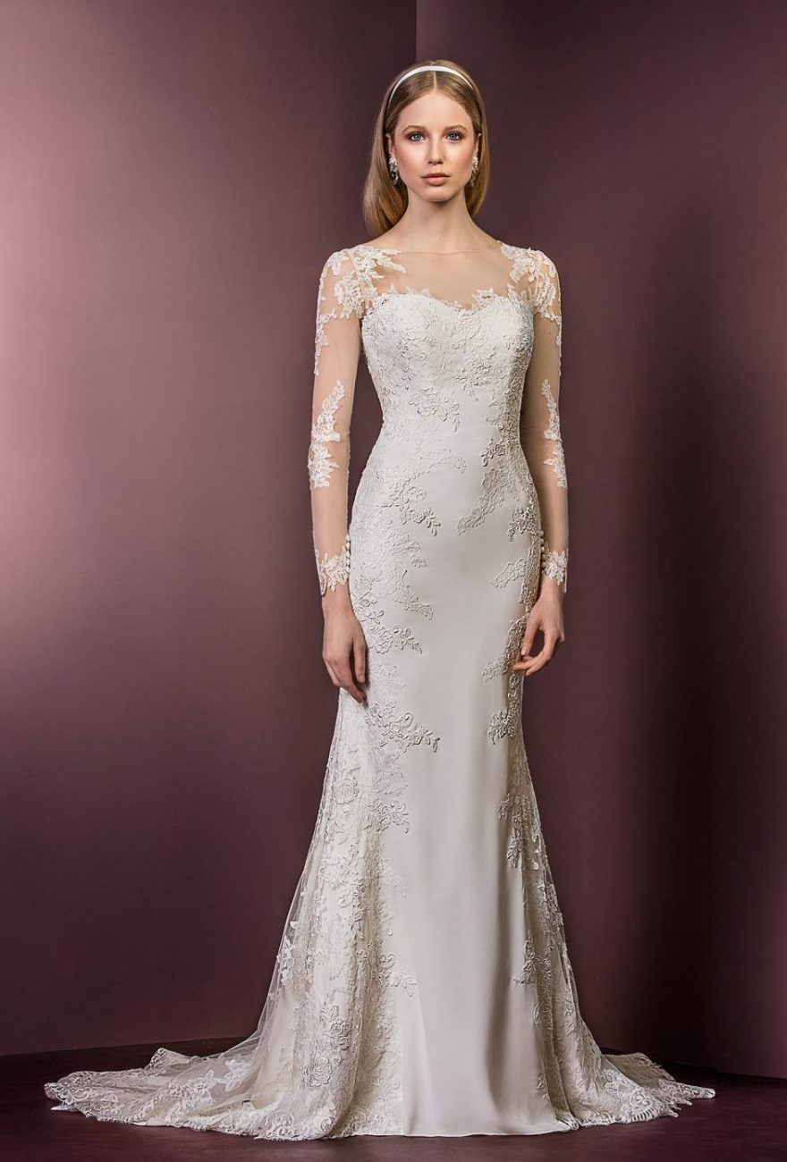 Long sleeve lace dress ellis bridals for Lace sleeve wedding dresses